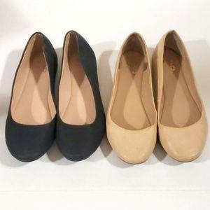 《Mix no. 6》Nude & Black Ballet Flats Danzey Shoes
